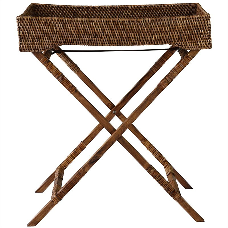 Savannah Rattan Butlers Tray Table, Tobacco