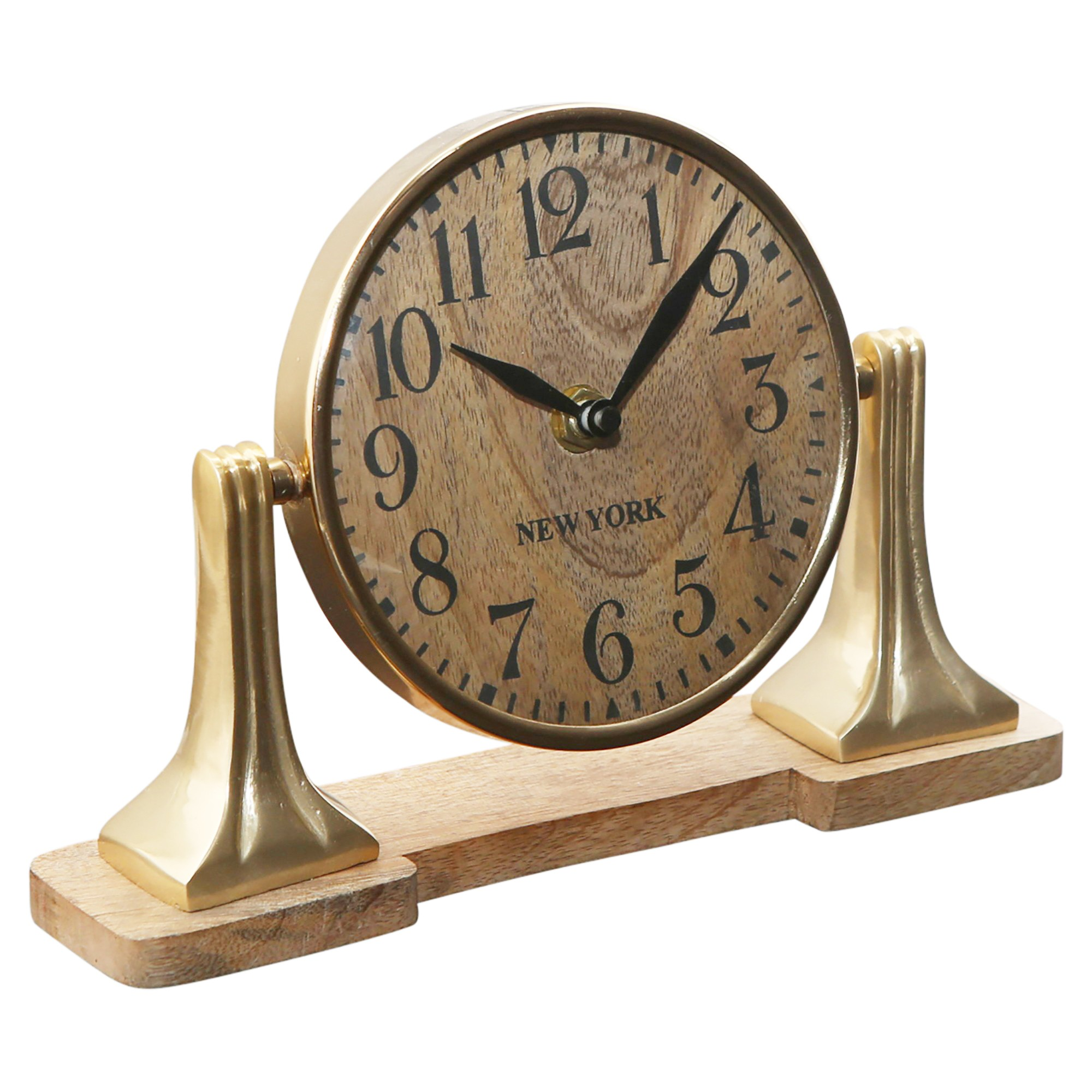 Hastings Mango Wood Table Clock, Large, Gold