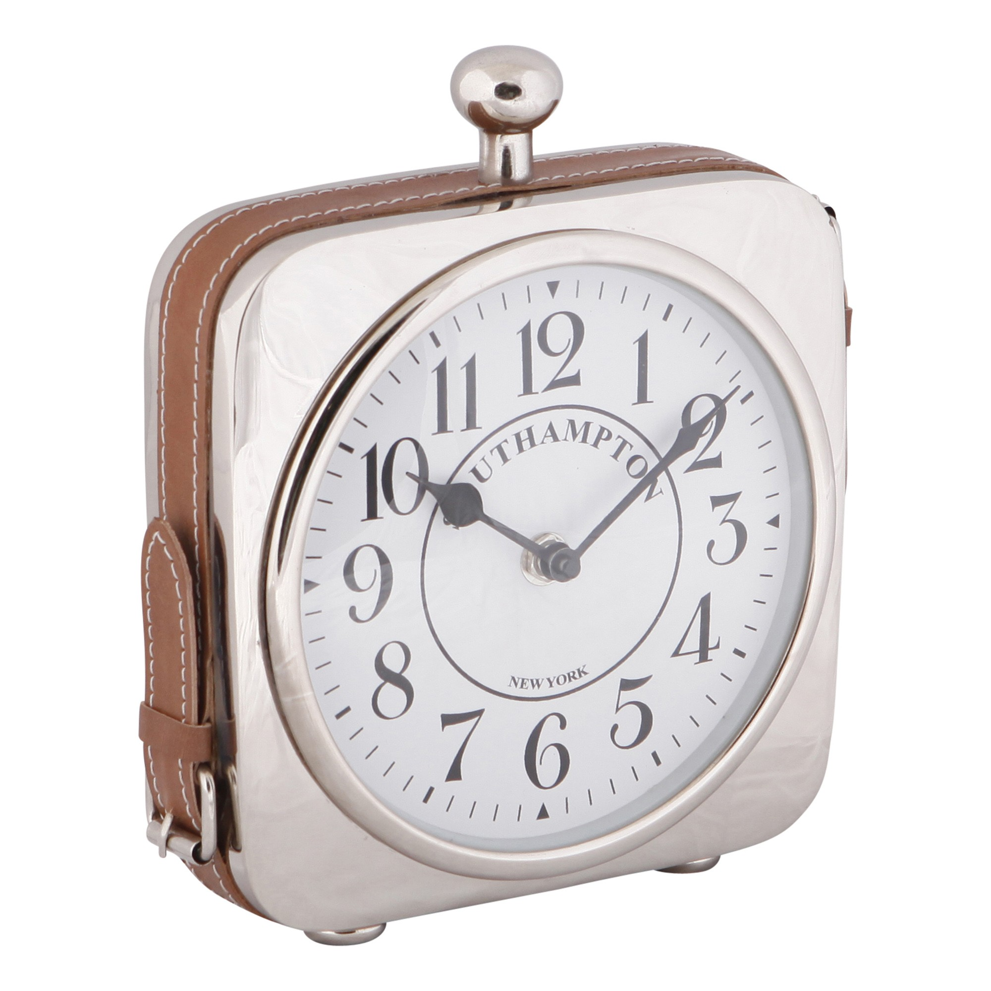 Harvey Metal & Leather Desk Clock