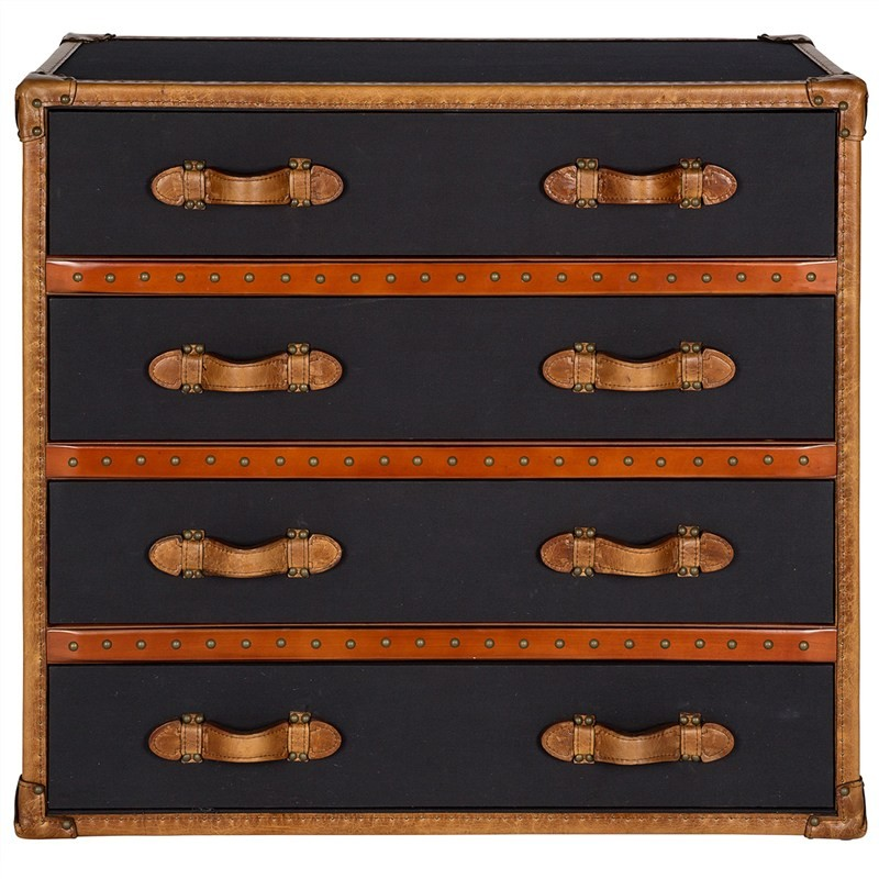 Hampton Vintage Leather and Fabric 4 Drawer Chest