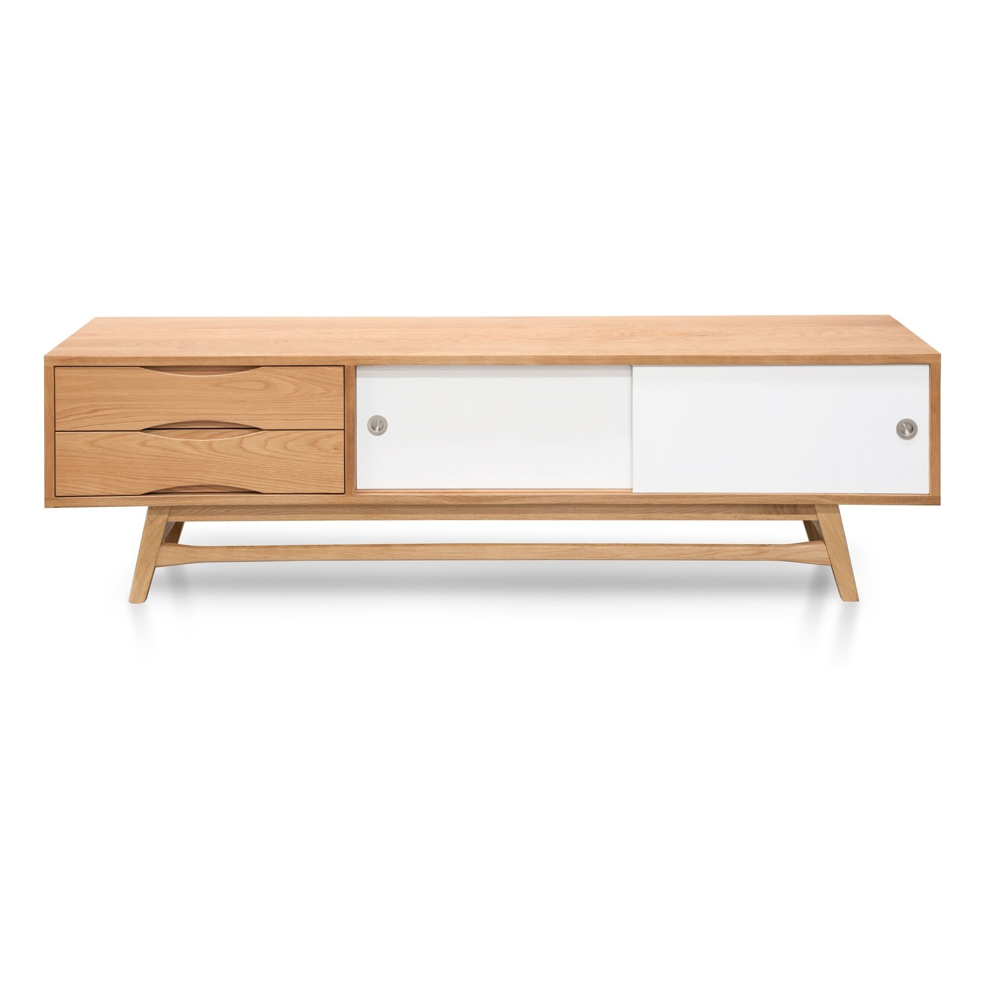 Kvern Timber TV Unit, 180cm, Oak / White