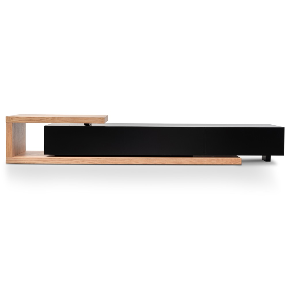 Dalvin 3 Drawer Extensible Lowline TV Unit, 240-307cm, Oak / Black
