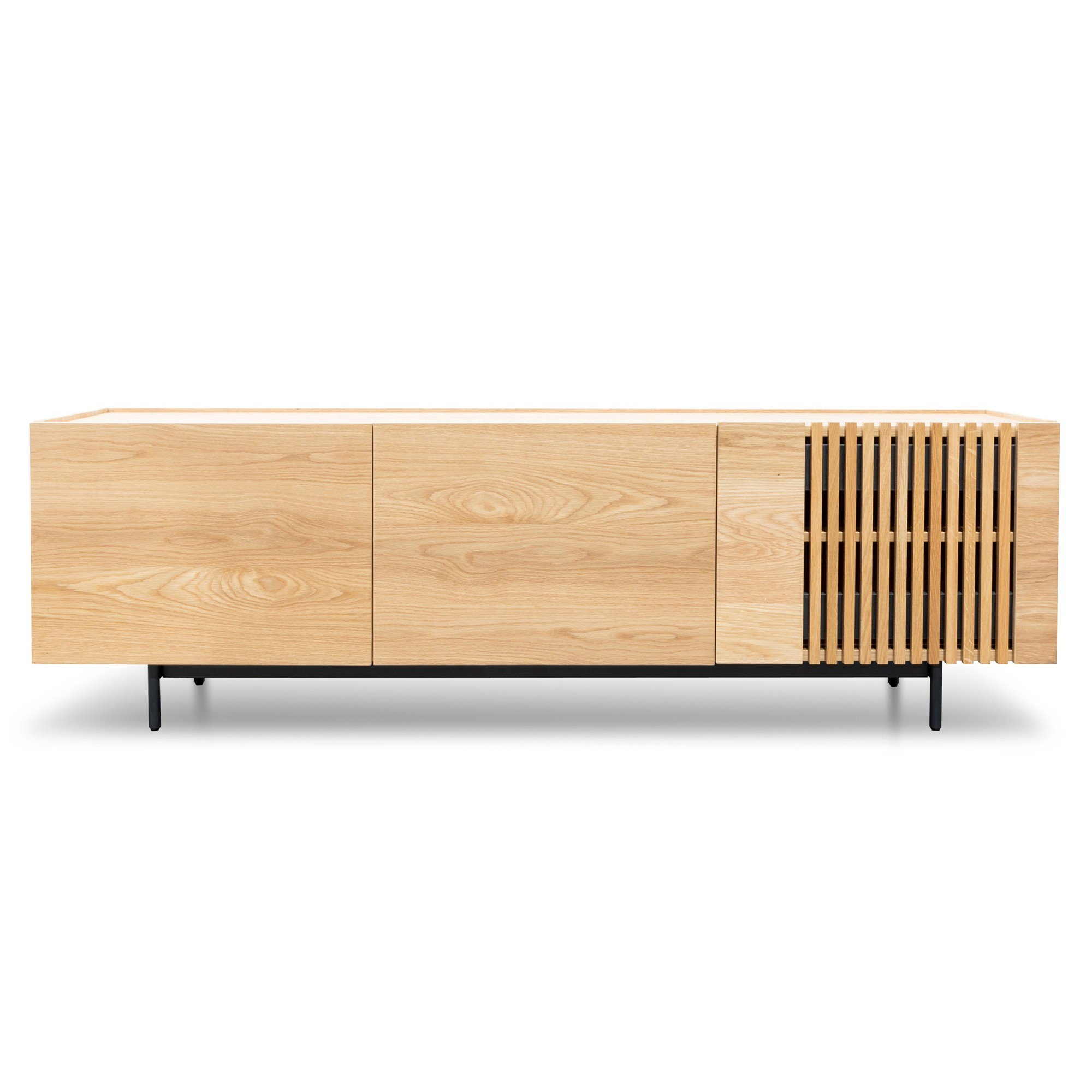 Harold Wooden 3 Door TV Unit, 180cm, Oak