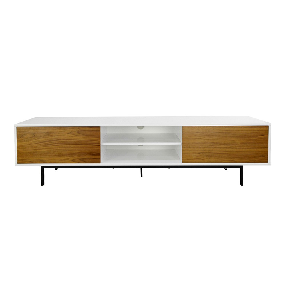 Sane 2 Drawer Lowline TV Unit, 200cm, White / Walnut