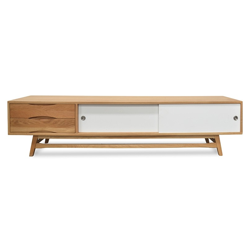 Kvern 2 Drawer Sliding Door Lowline TV Unit, 210cm, Oak / White