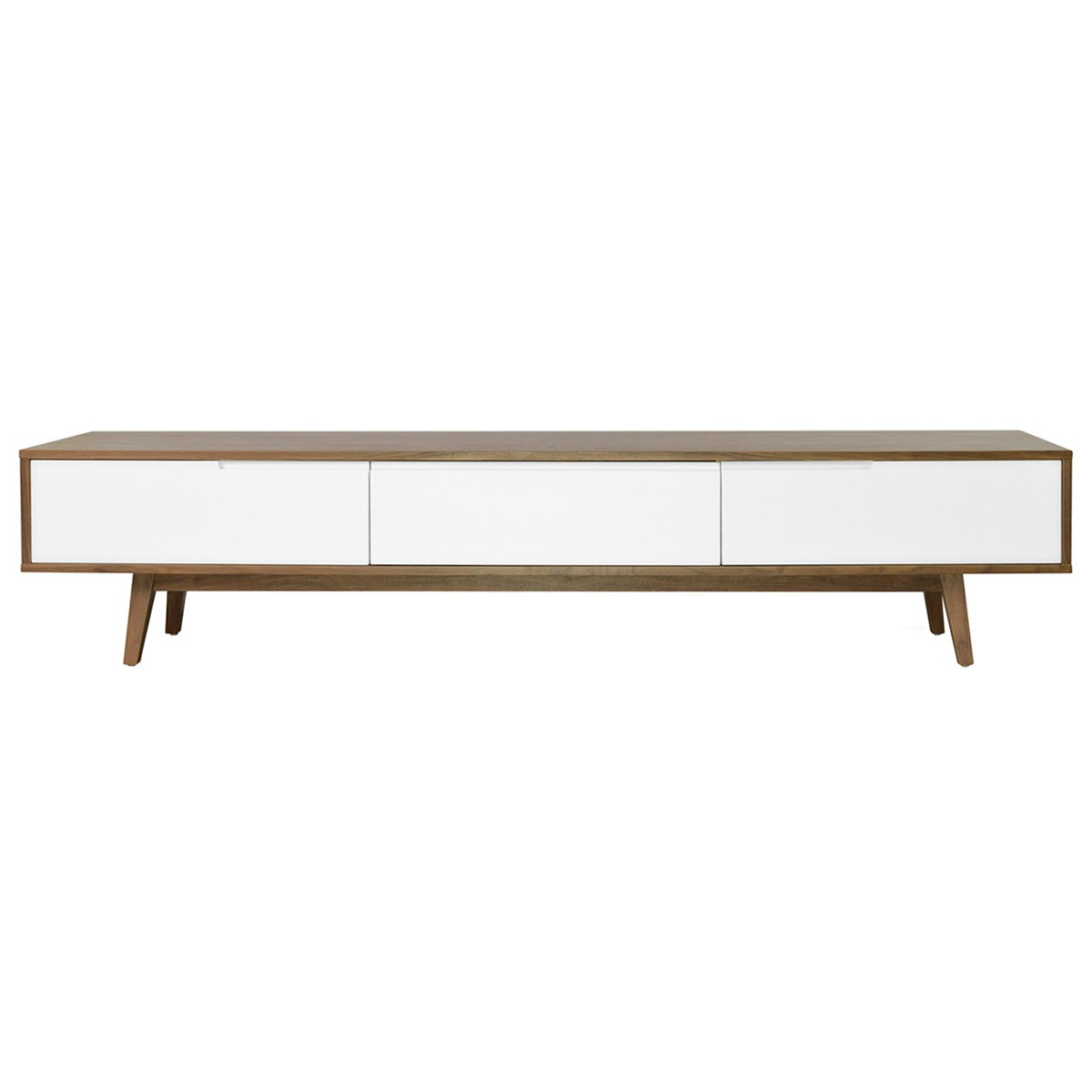 Martin 2 Drawer Flip Door Lowline TV Unit, 210cm, Walnut / White