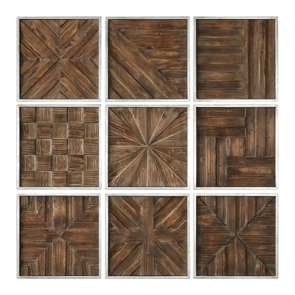 Bryndle 9 Piece Assorted Fir Timber Parquet Wall Art Set
