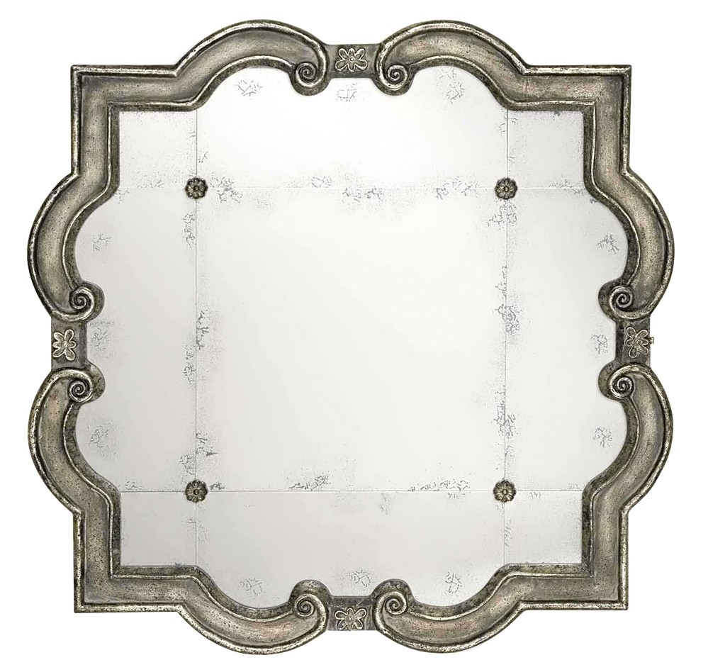 Prisca Antique Wooden Frame Wall Mirror, 90cm