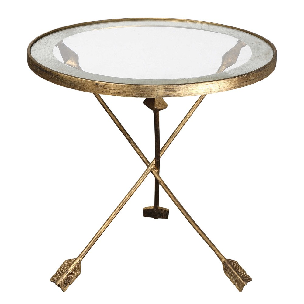 Aero Tempered Glass Top Iron Round Accent Table