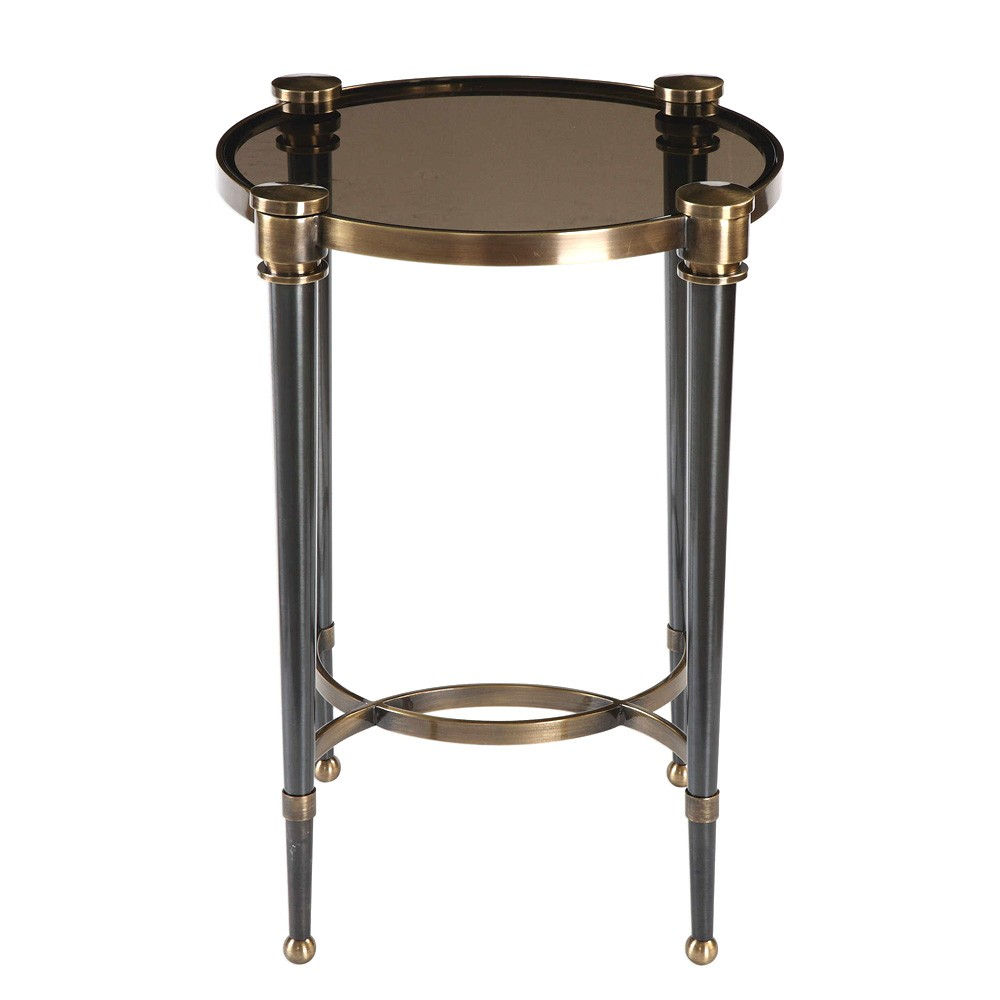 Thora Glass Top Metal Round Accent Table