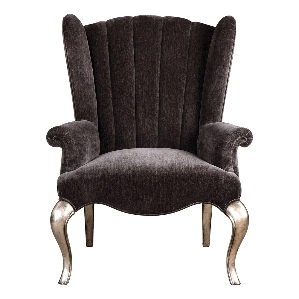 Rein Chenille Wing Back Lounge Armchair