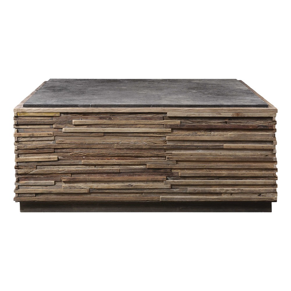 Malia Stone Top Recycled Elm Timber Square Coffee Table, 100cm