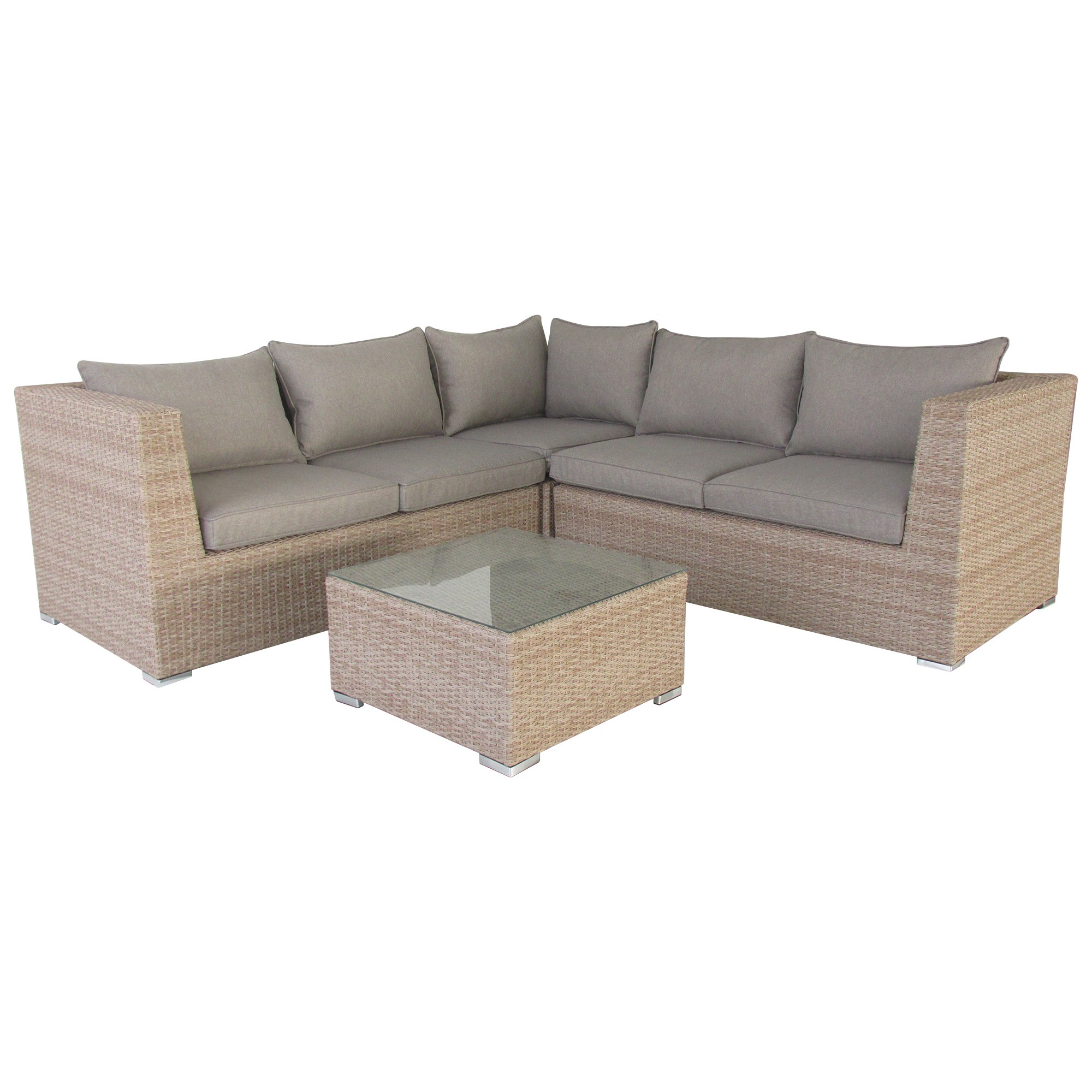 Moluman 4 Piece Outdoor Wicker Corner Lounge Set
