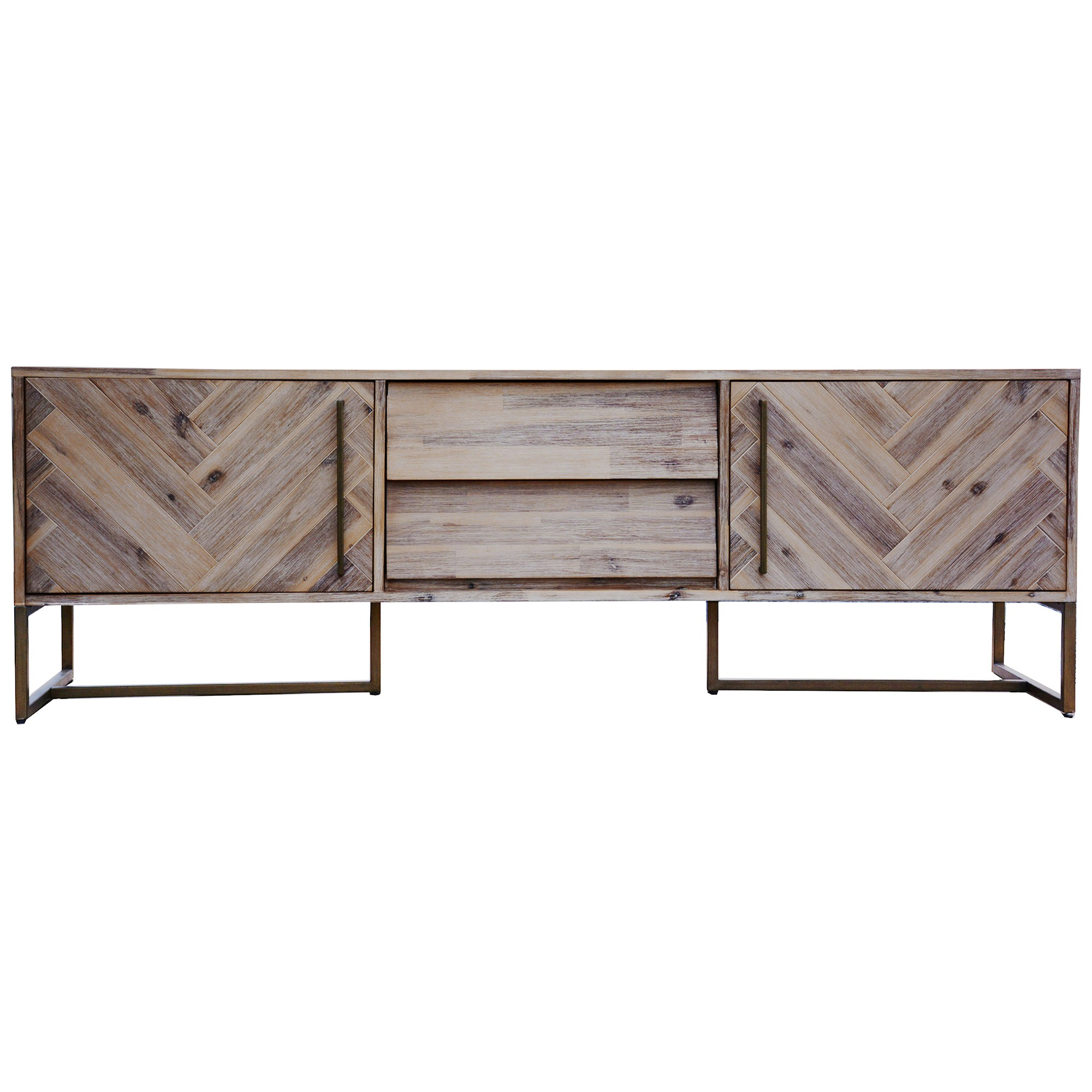 Nona Acacia Timber & Metal 2 Door 1 Drawer TV Unit, 180cm