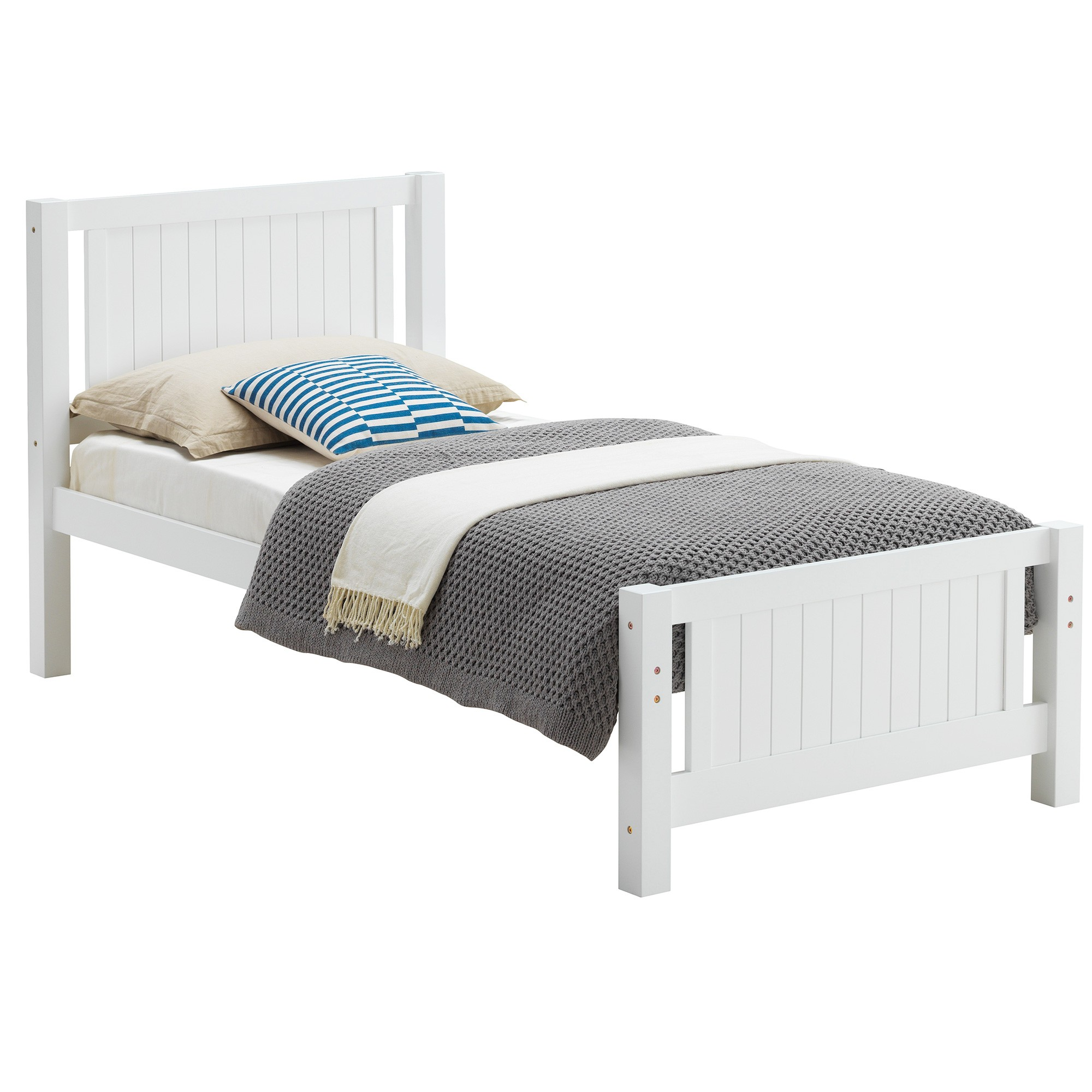 Welling Wooden Bed, Single, White