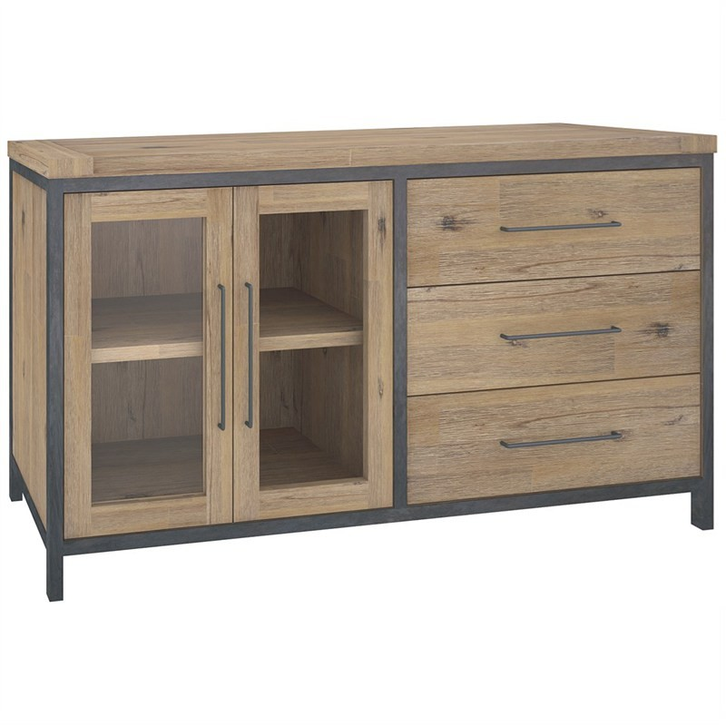 Hamburg Solid Acacia Timber 2 Door 3 Drawer 164cm Sideboard - Wire Brush Finish