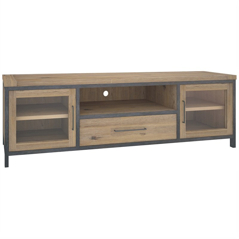 Hamburg Solid Acacia Timber 2 Door 1 Drawer 220cm TV Unit - Wire Brush Finish