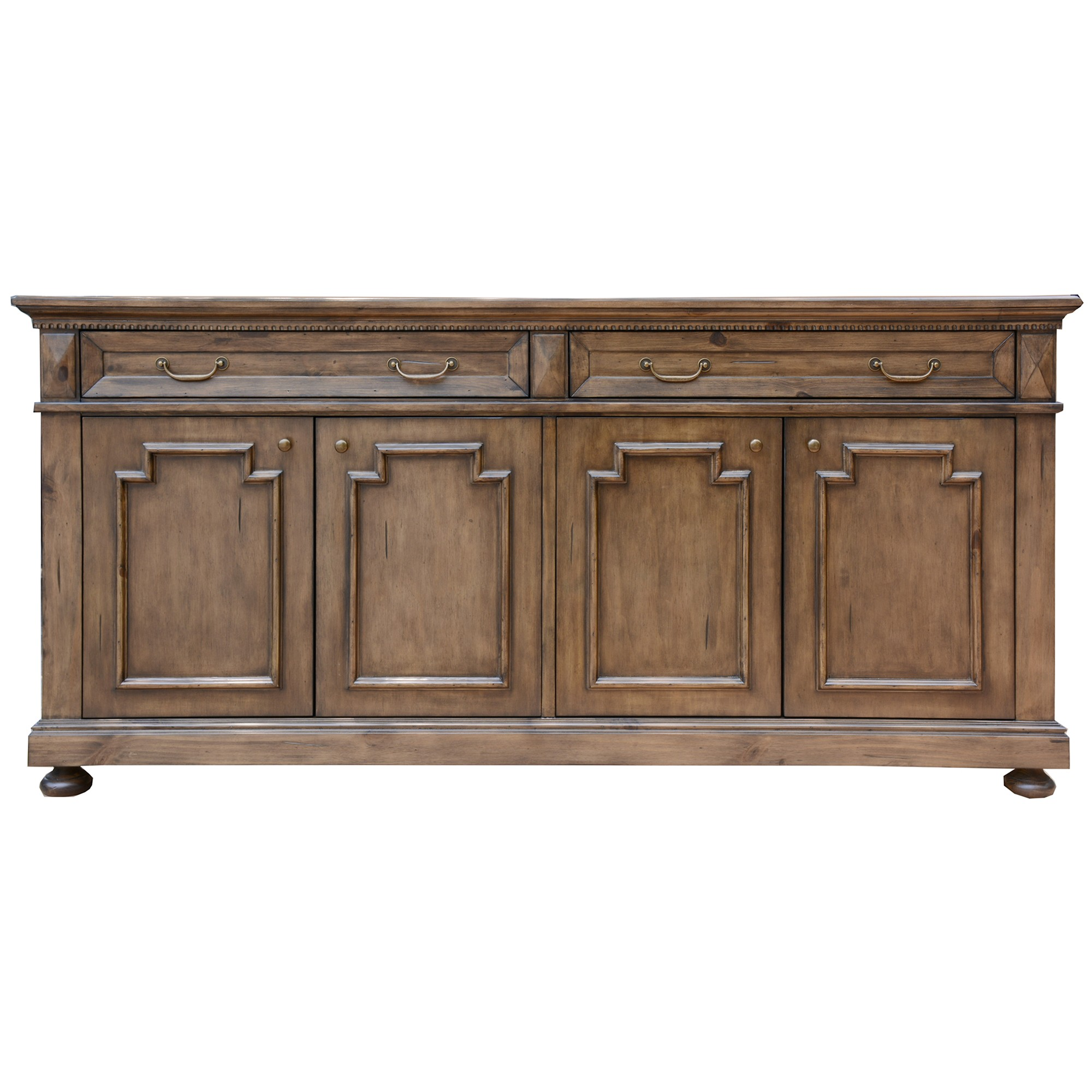 Aldreth Pine Timber 4 Door 2 Drawer Buffet Table, 190cm