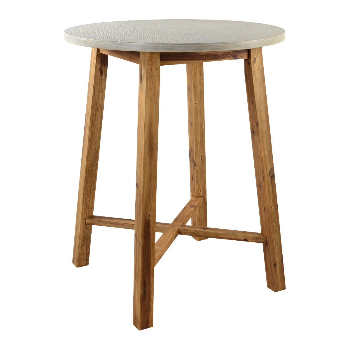 Aria Cement & Acacia Indoor / Outdoor Round Bar Table, 90cm