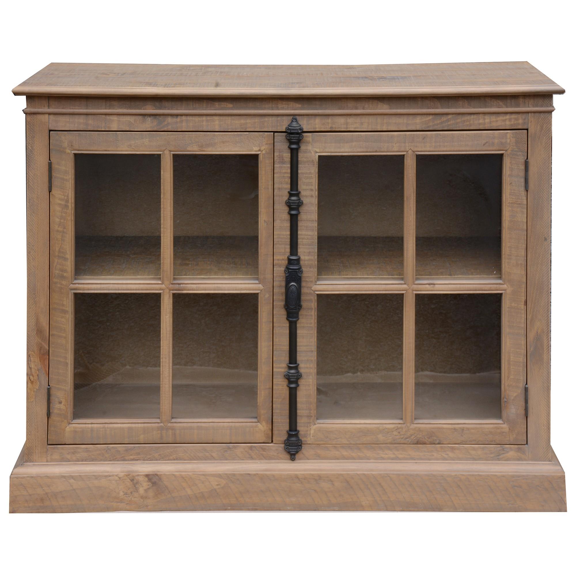 Cognac Pine Timber 2 Door Buffet Table, 116cm