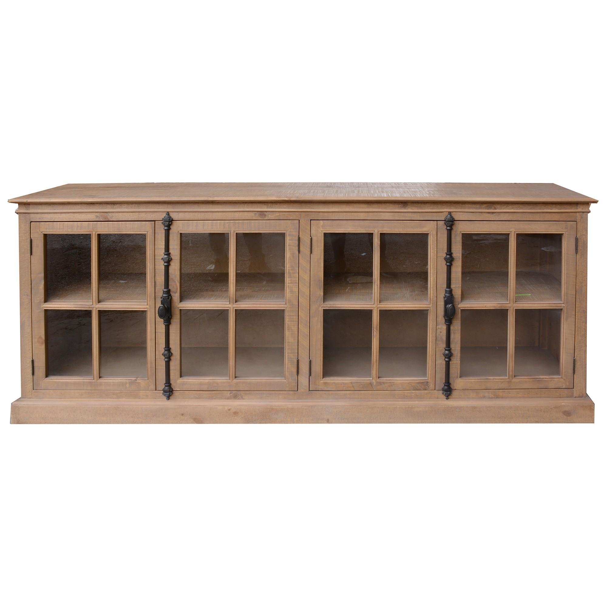 Cognac Pine Timber 4 Door Buffet Table, 220cm