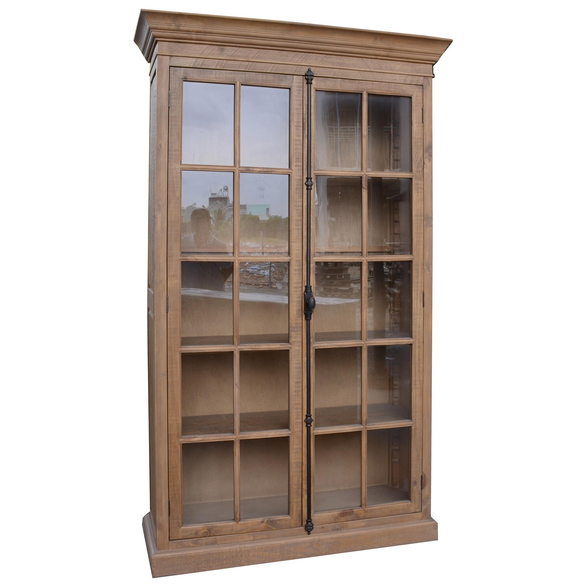 Cognac Pine Timber 2 Door Display Cabinet