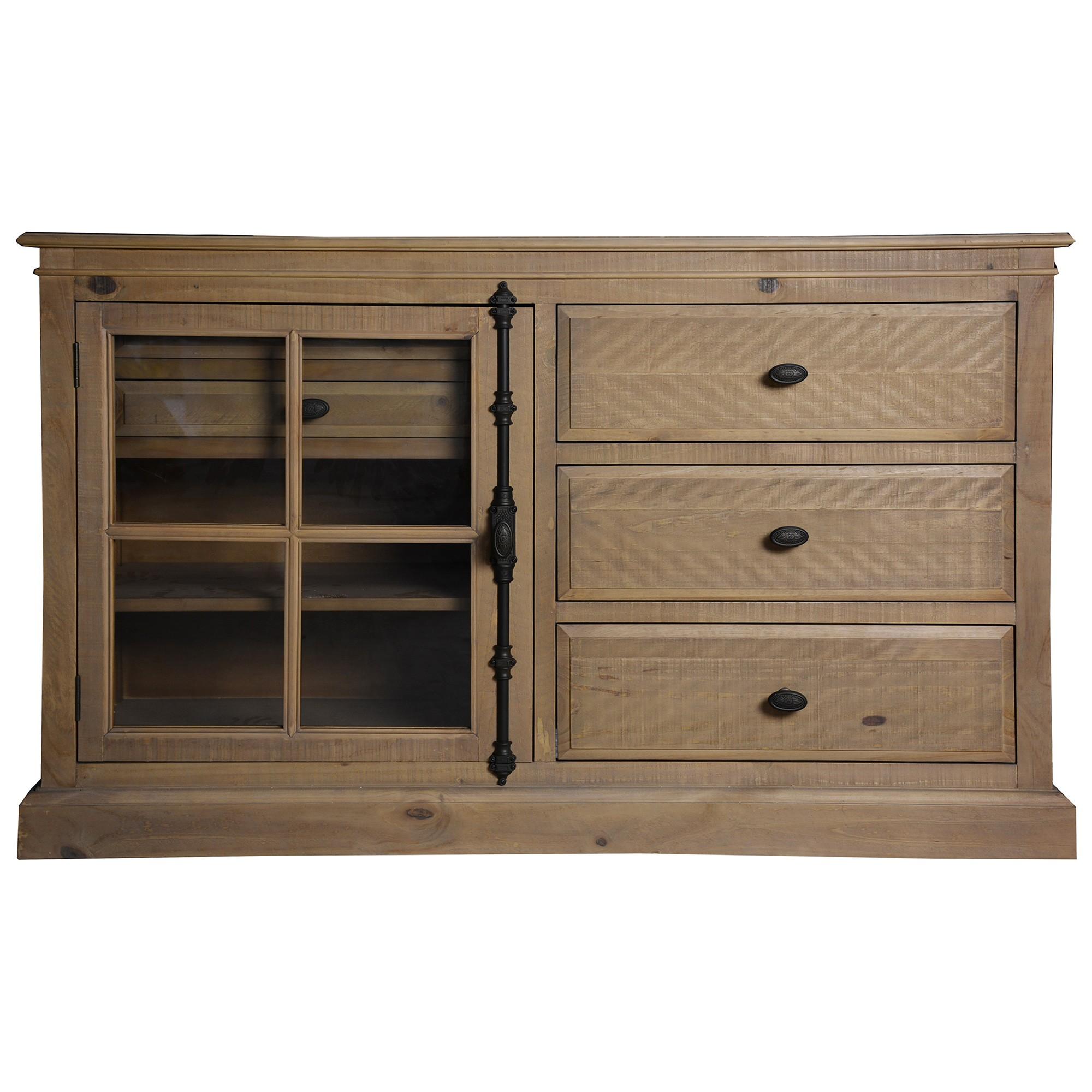 Cognac Pine Timber 1 Door 3 Drawer Dresser