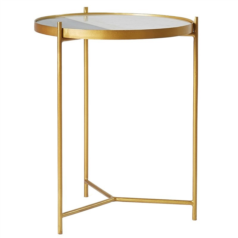Everett Metal Round Side Table with Marble Top, Two Tone/Brass