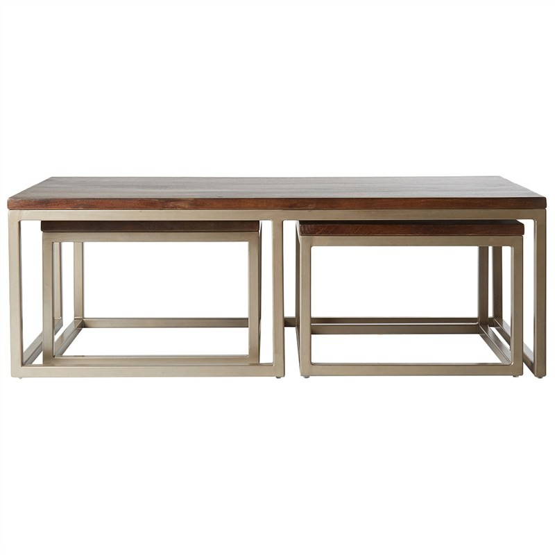 Dayton 3 Piece Solid Mango Wood Timber & Iron 120cm Nested Coffee Table Set