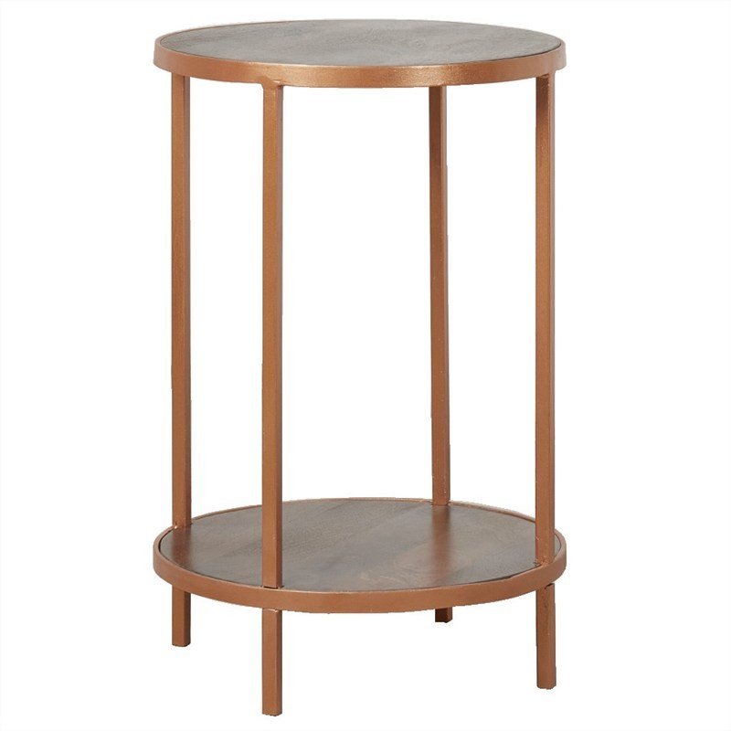 Carus Solid Mango Wood Timber and Iron Round Side Table
