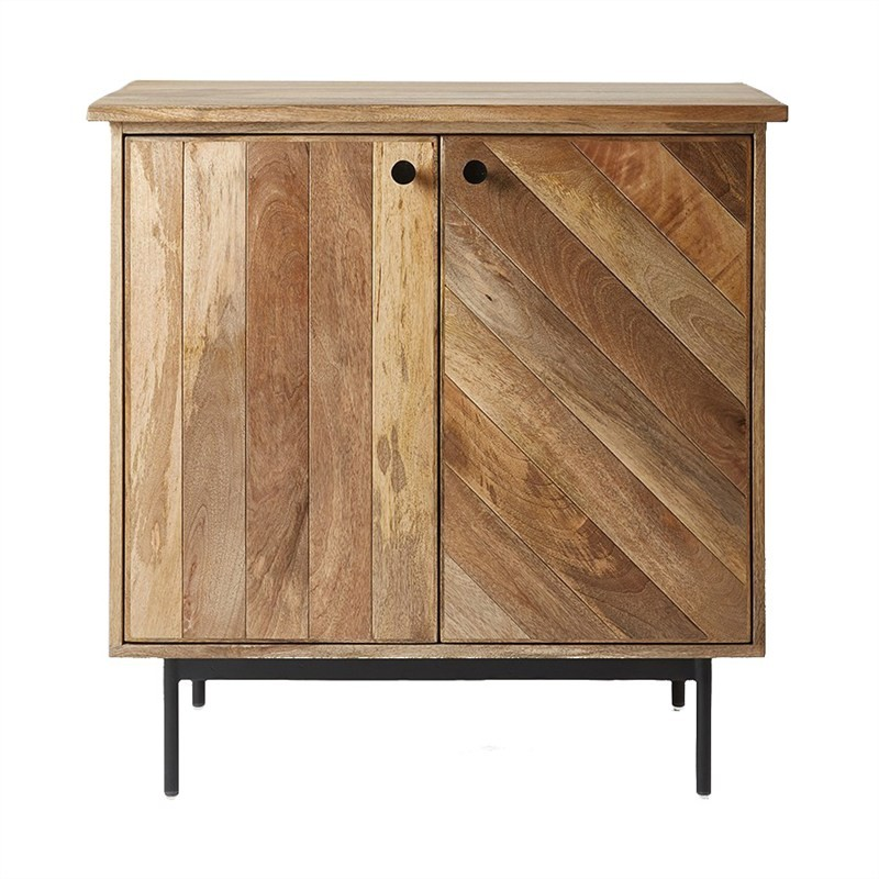 Kalvesta Solid Mango Wood Timber and Iron 2 Door 85cm Cabinet