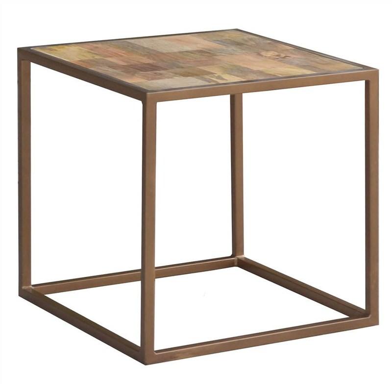 Ajax Mango Wood Timber and Metal Side Table