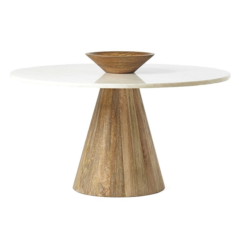 Florissant Marble and Solid Mango Wood Timber 75cm Round Coffee Table, White