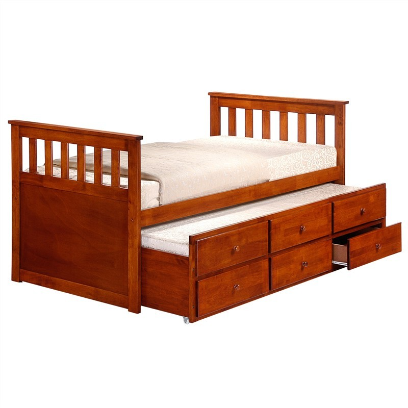 Maris Solid Rubberwood Timber Single Captain Bed with Trundle & Drawers - Oak