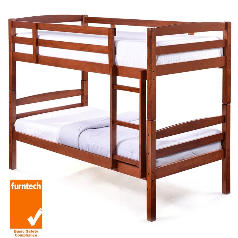 Camryn Solid Rubberwood Timber Single Bunk Bed - Oak