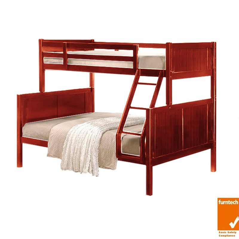 Caden Solid Rubberwood Timber Trio Bunk Bed - Oak