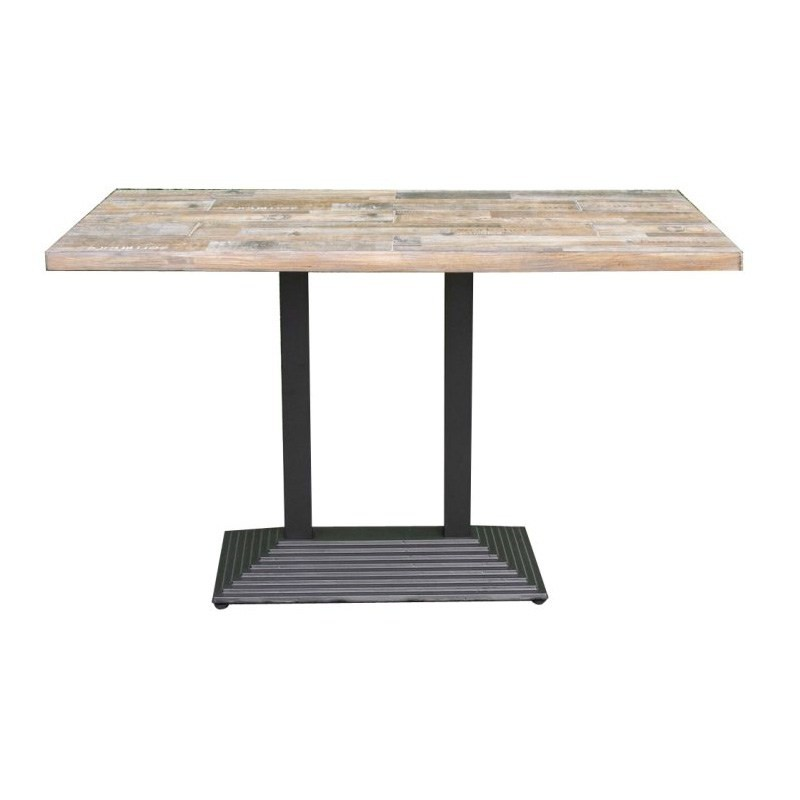 Donat Ceramic Tile Top Metal Indoor/Outdoor Dining Table, 135cm, Distressed Natural