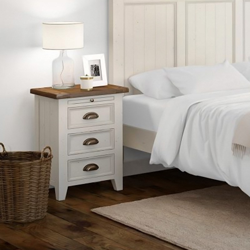Halsey Solid Pine Timber 3 Drawer Bedside Table