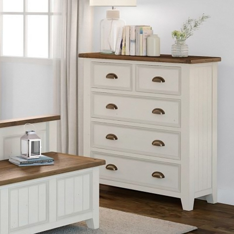 Halsey Solid Pine Timber 5 Drawer Tallboy