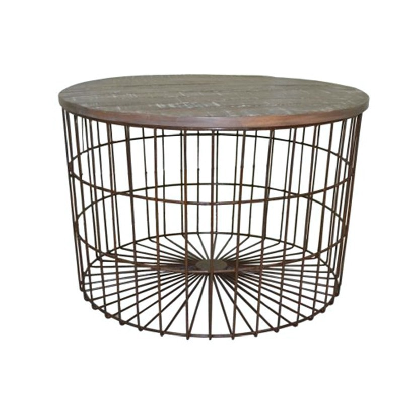 Barstow Metal Wire Round Coffee Table with Wooden Top, 70cm