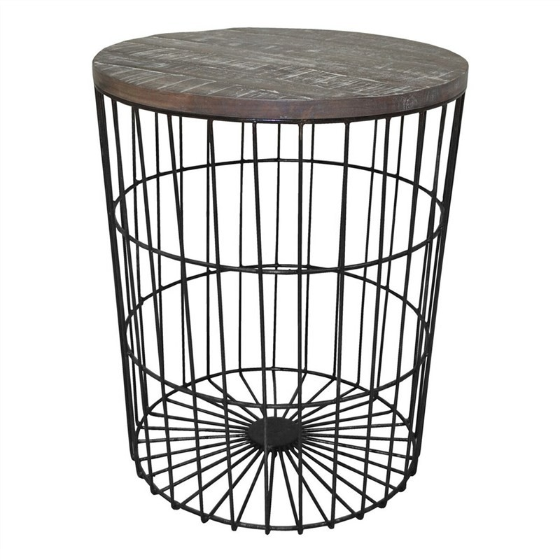 Barstow Metal Wire Round Side Table with Wooden Top