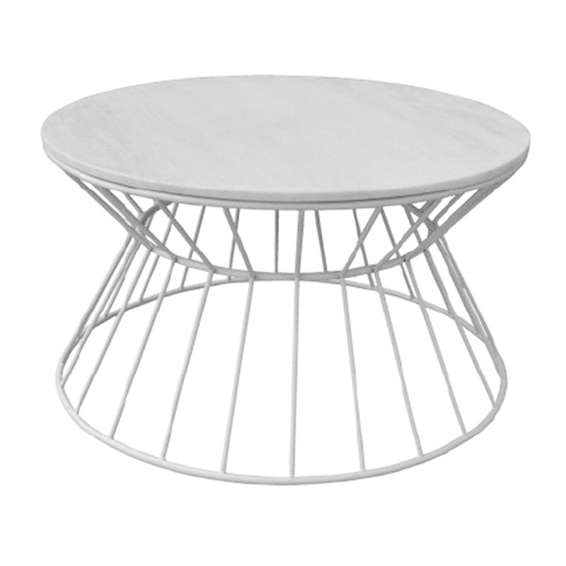 Sierra Metal Wire Round Coffee Table with Marble Top, 80cm