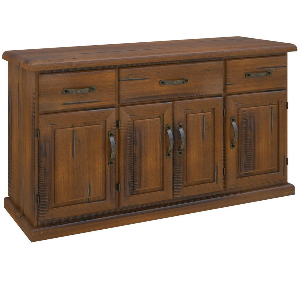 Mulford Solid Pine Timber 4 Door 3 Drawer Buffet Table, 163cm