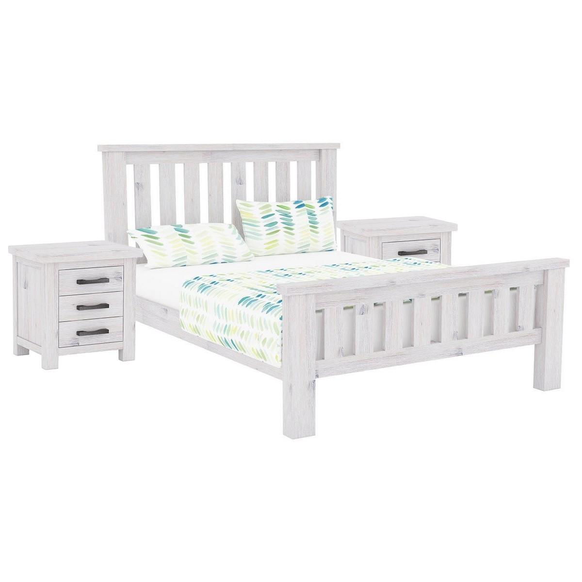 Brockport 3 Piece Acacia Timber Bed & Bedside Set, King