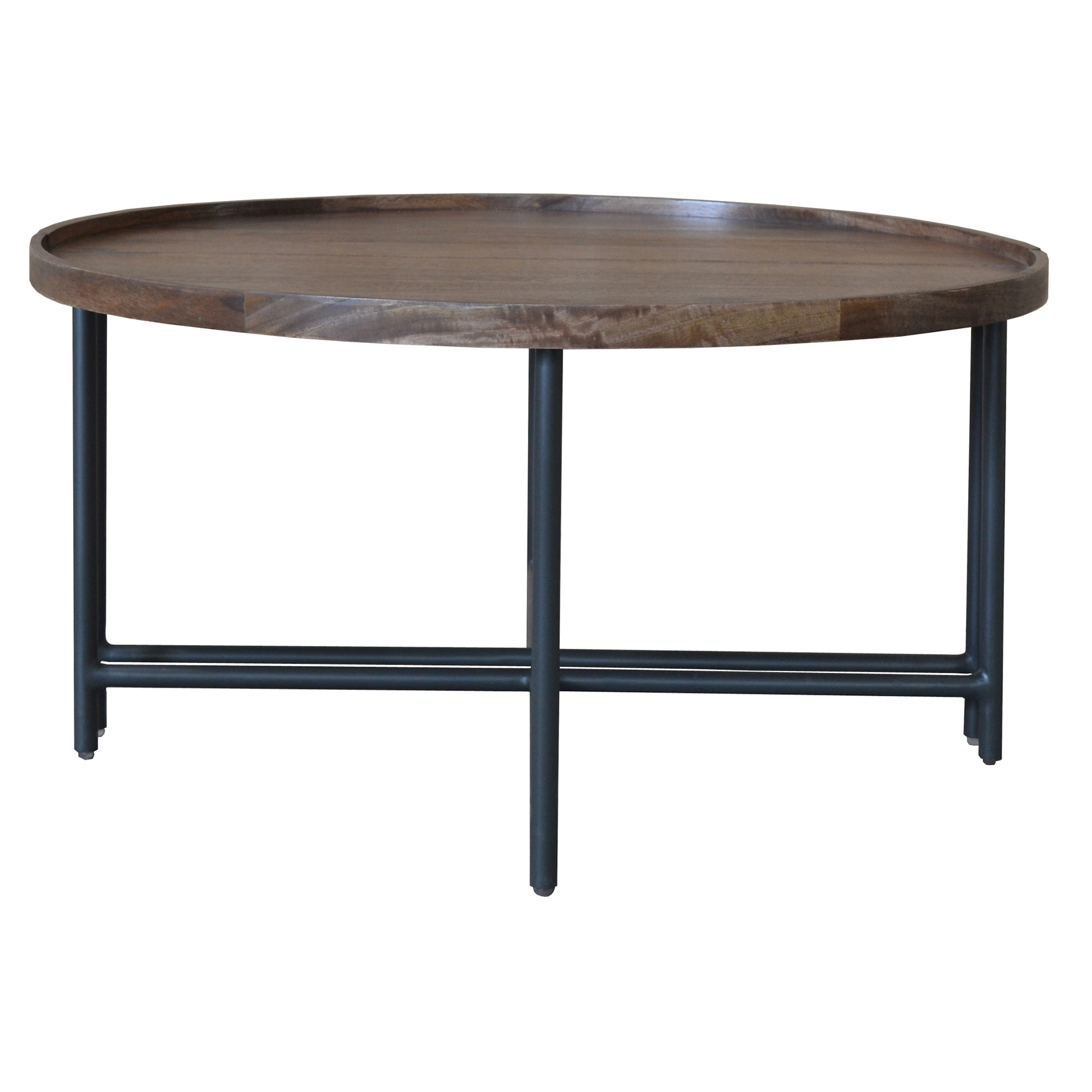 Mirabel Mango Wood & Metal Round Coffee Table, 80cm