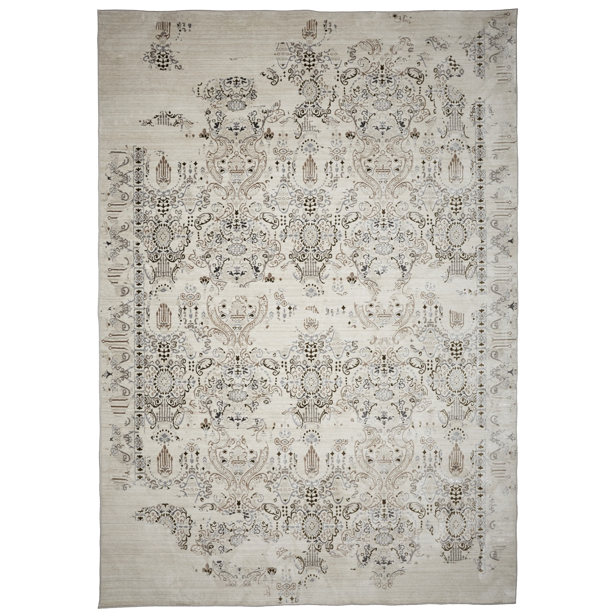 Vintage No.586 Transitional Rug, 130x70cm, Sliver / White