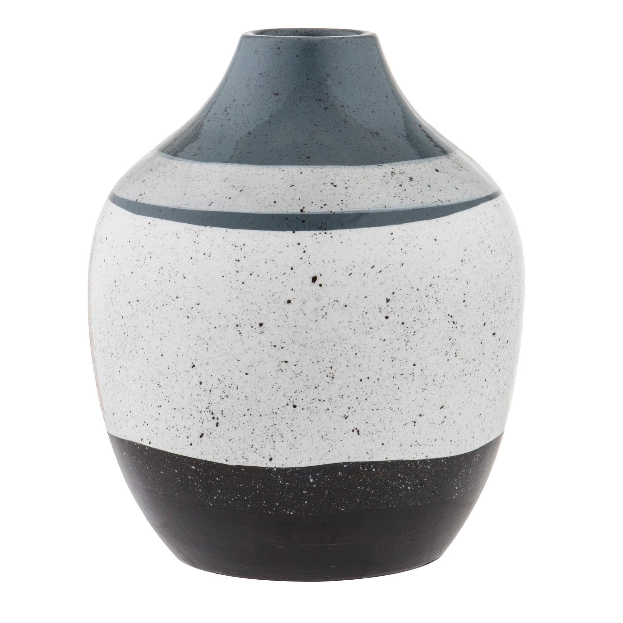 Ragna Ceramic Vase, Small, Blue / White / Black