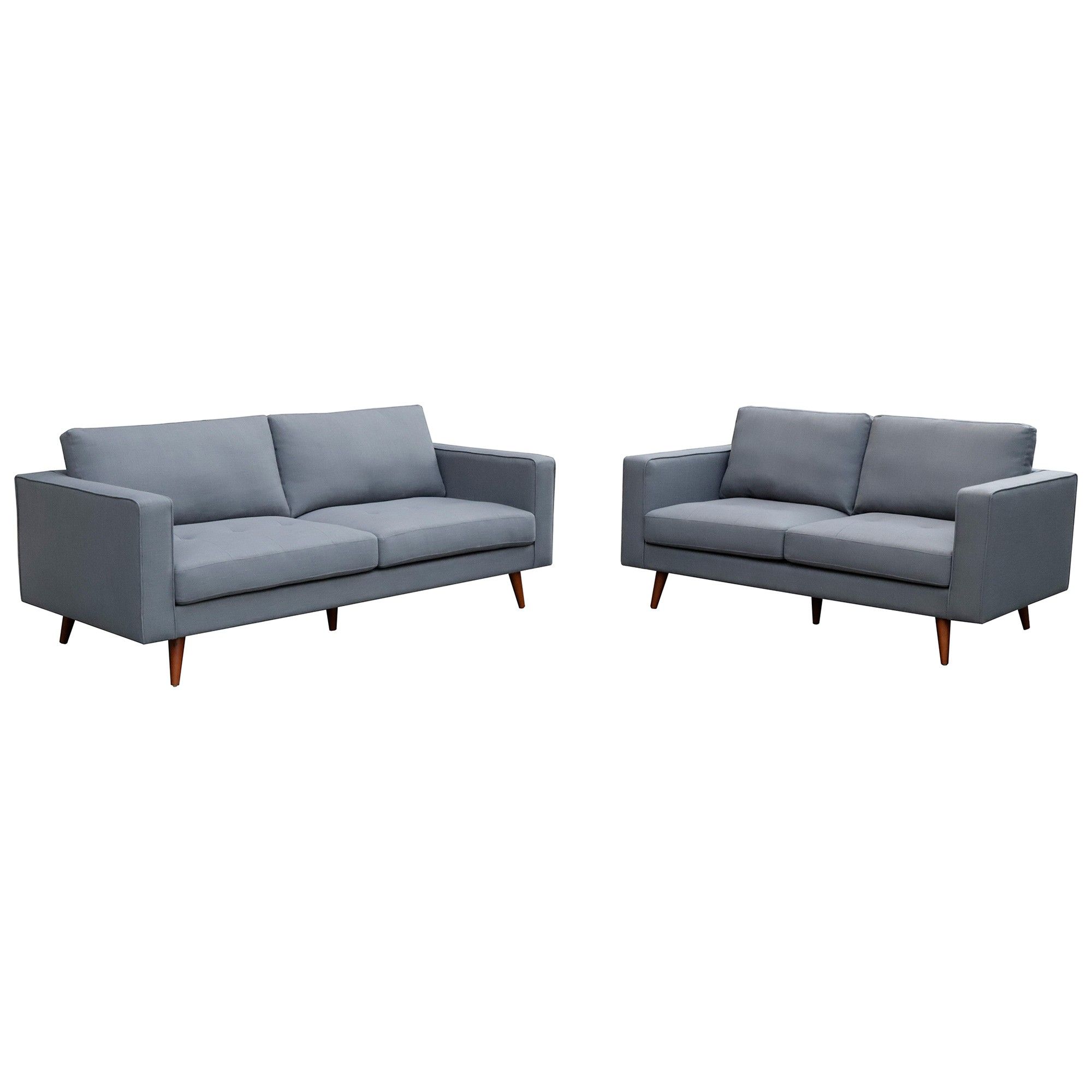 Brittany 2 Piece Fabric Sofa Set, 3+2 Seater, Dark Grey