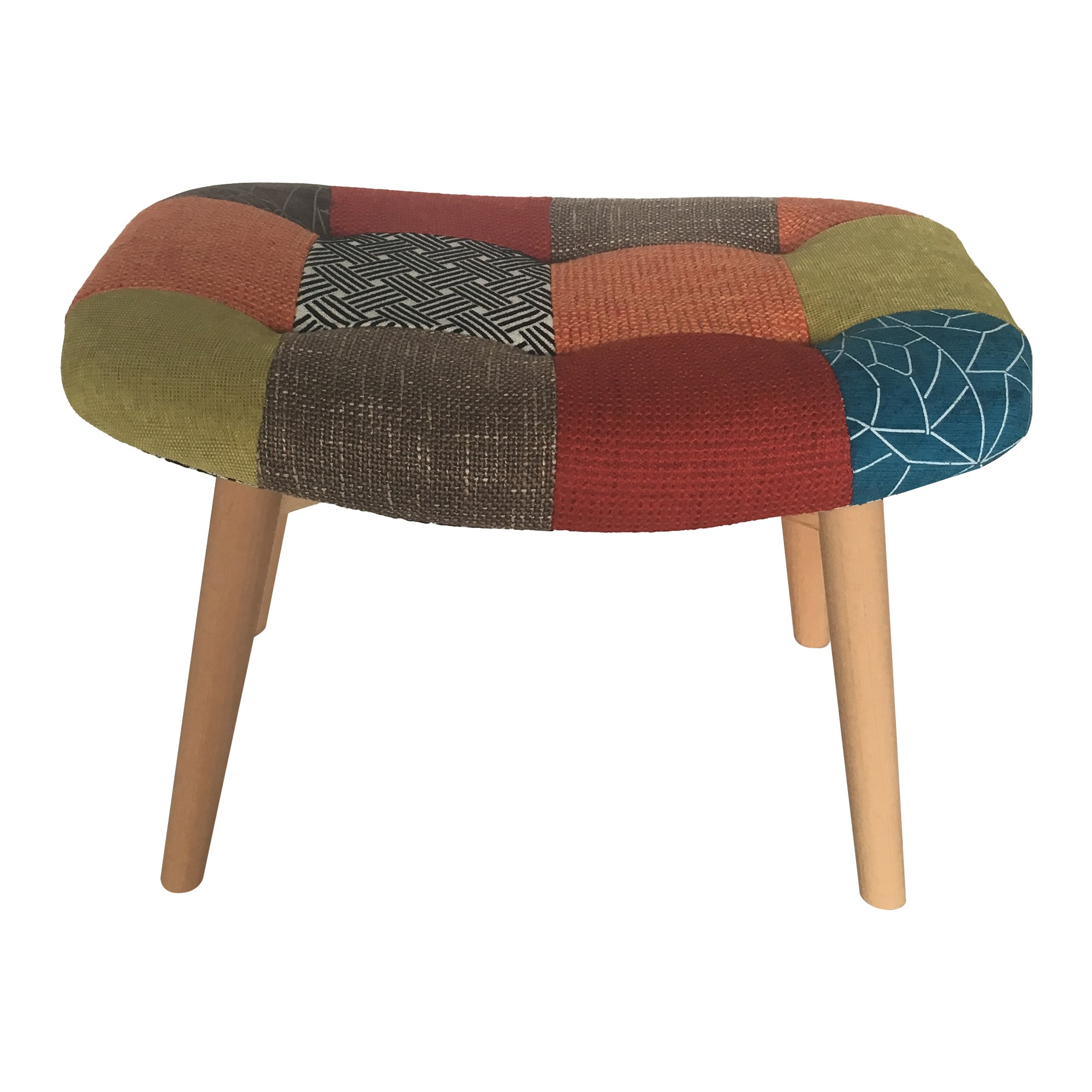 Dalbert Patchwork Fabric Foot Stool, Multi