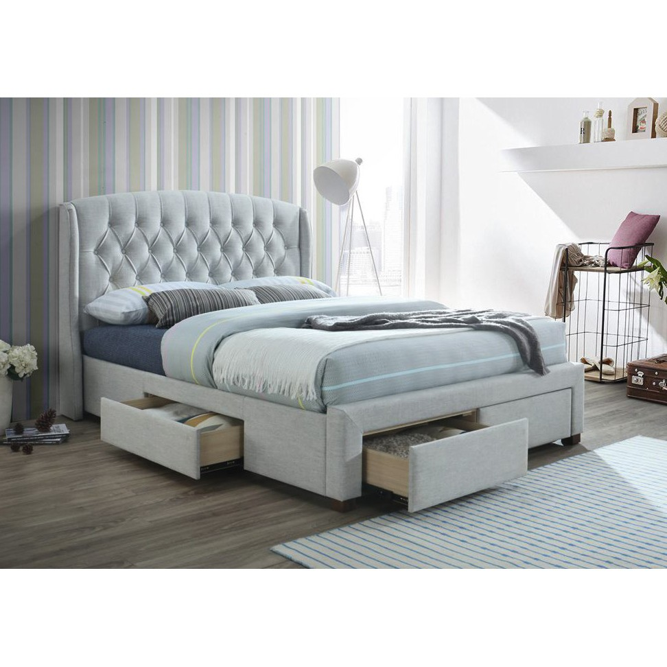 Karin Fabric Bed with Drawers, Queen